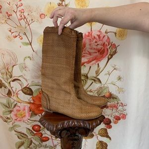 Sergio Rossi Leather boho Whicker Brown Boots